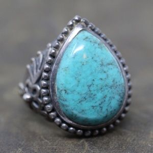 Jewelry - INDIA DP Sterling Silver Turquoise Teardrop Ring 7